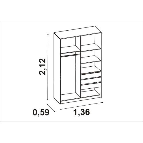Шкаф-стеллаж с дверкой СИТИ 6-9413