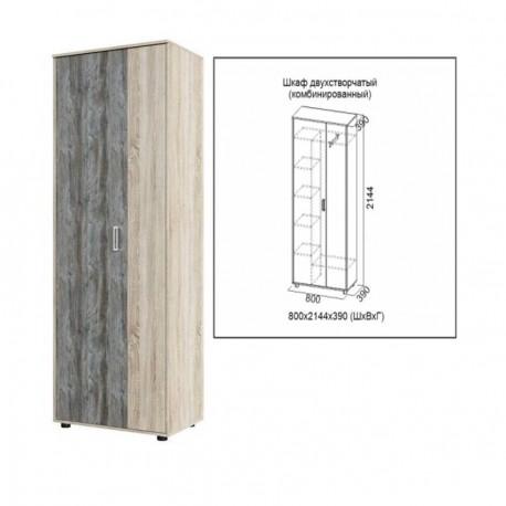 Шкаф 2-х дверный Визит-1 Комбинированный