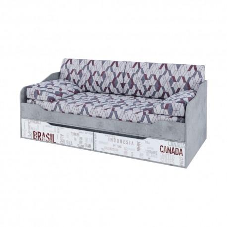 Кровать-диван с ящиками 0,9*2,0 Грей