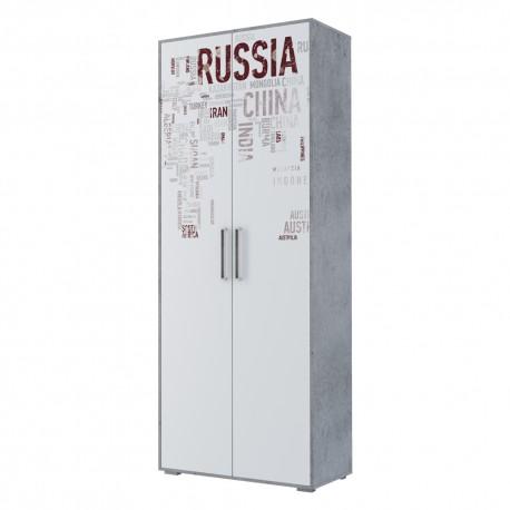 Шкаф 2-х дверный комбинированный Грей