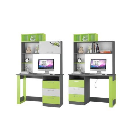 Стол письменный + надстройка ГРАФФИТИ серый/лайм/бел.фотопечать