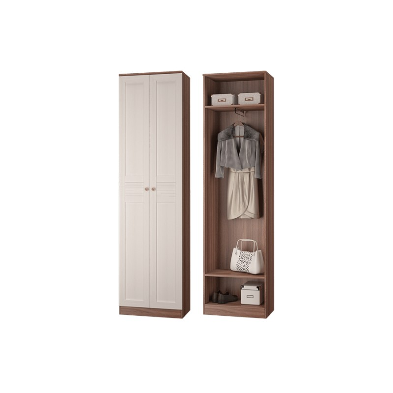 Шкаф для одежды с выдвижной штангой ЛЕСТЕР ясень темный/бодега светлая