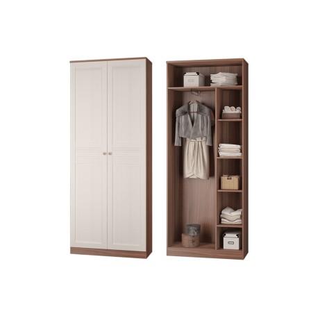 Шкаф для платья и белья с выдвижной штангой ЛЕСТЕР ясень темный/бодега светлая