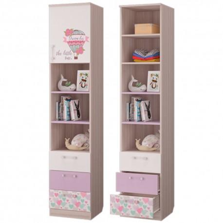 """Шкаф для книг """"АДЕЛЬ"""" с ящиками и дверкой ясень"""